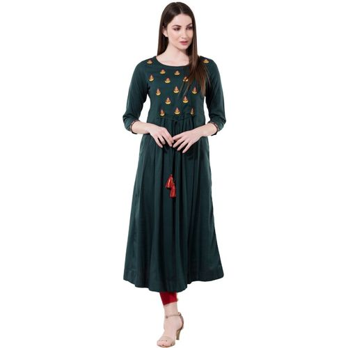 Janakdulari Creation Women Embroidered Anarkali Kurta(Dark Green)