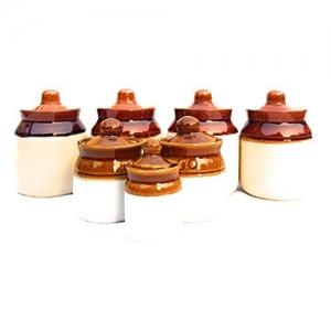 swadeshi enterprises Multicolour Ceramic 180 ml Jars Set of 4 with two 100 ml Jar Plus 1 very small jar Set total 7 Jars Set
