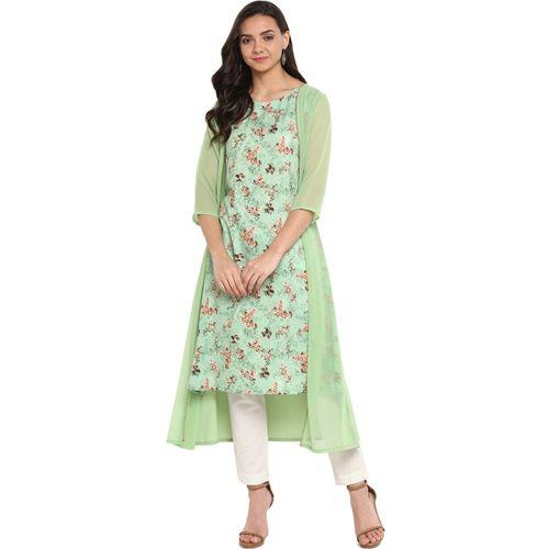 Janasya Women Floral Print A-line Kurta(Green)