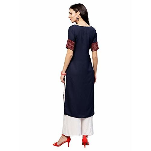 Ives Blue and Red Crepe Calf Length Printed Kurti For Women