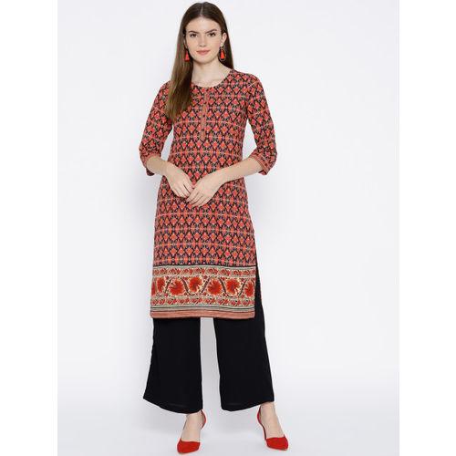 Rangriti Women Rust Red & Black Printed Straight Kurta