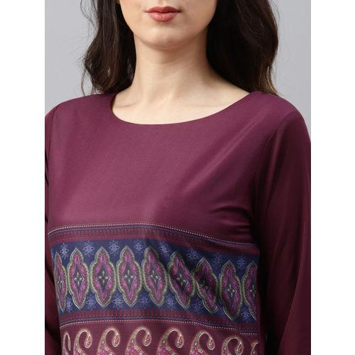Vaamsi Women Purple Printed Straight Kurta