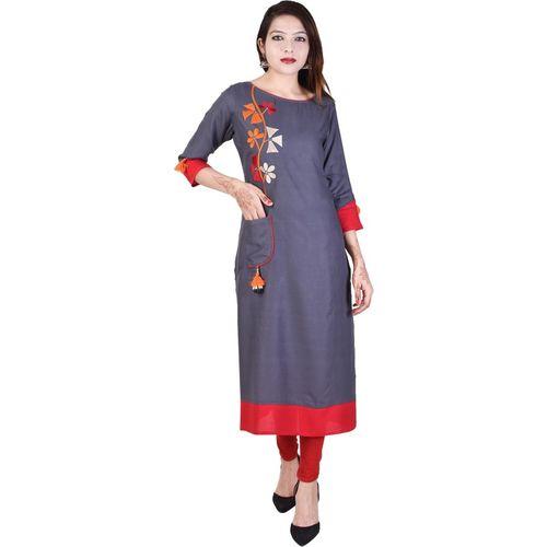 Neel Fab Women Embroidered A-line Kurta(Grey)