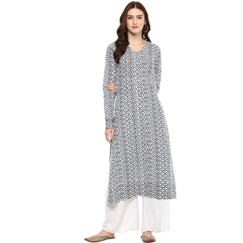 Indian Virasat Women Printed Straight Kurta(Grey)