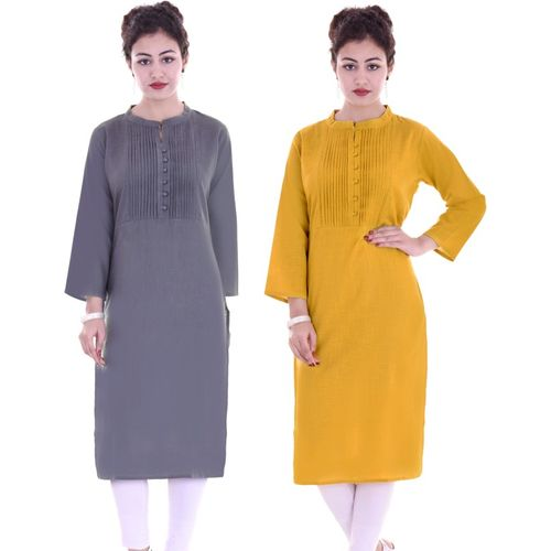 ROSSO FEM Casual Solid Women Kurti(Pack of 2, Grey, Yellow)