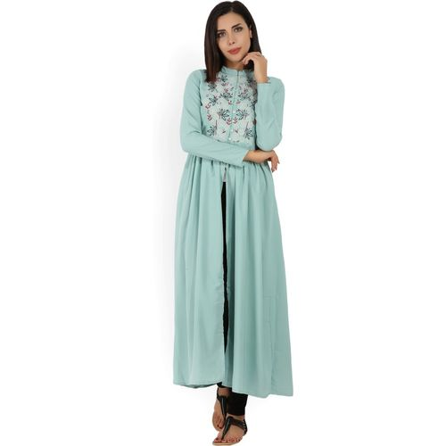 Vishudh Women Embroidered Frontslit Kurta(Light Green)
