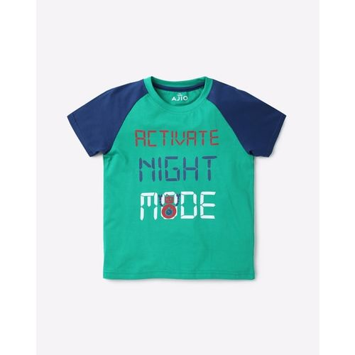 AJIO Typographic Print T-shirt with Joggers