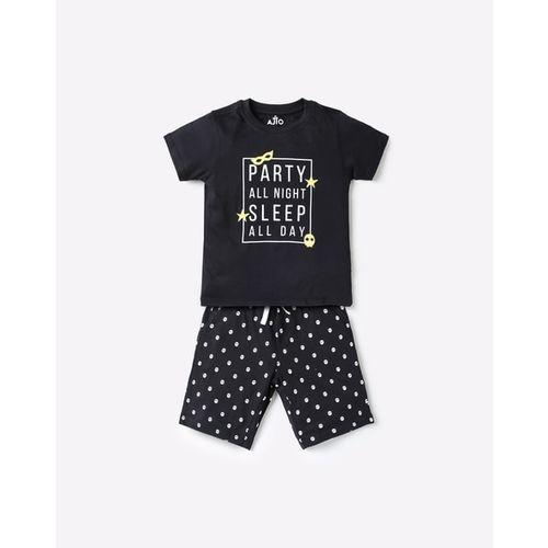 AJIO Printed T-shirt & Pyjamas Set