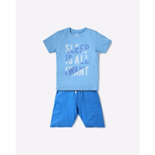 AJIO Typographic Print T-shirt & Shorts Set