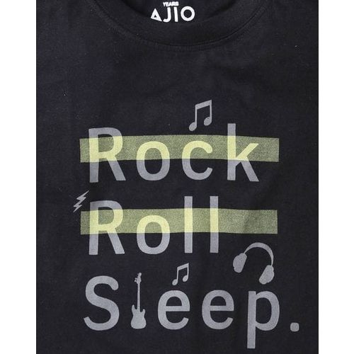 AJIO Printed T-shirt & Pyjamas Set
