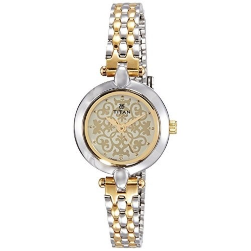 buy titan 2521bm02 silver amp golden analog watch for women