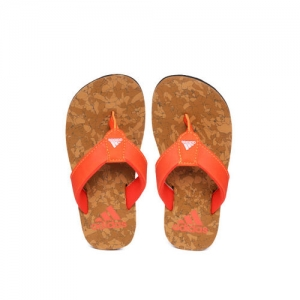 ADIDAS Boys Orange & Brown Beach Cork 1.0 Solid Thong Flip-Flops