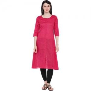 Rangmanch by Pantaloons Women Solid Straight Kurta(Pink)