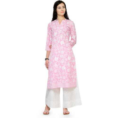 Varanga Women Floral Print Straight Kurta(Pink, White)