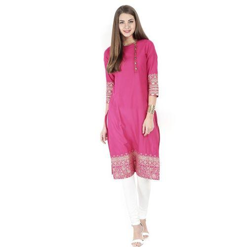 Vishudh Women Solid Straight Kurta(Pink)