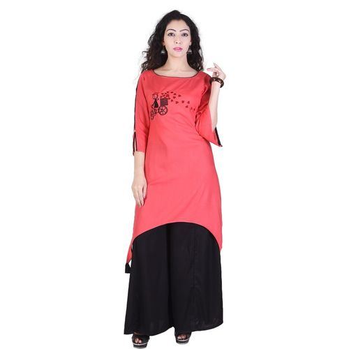 Neel Fab Women Embroidered Straight Kurta(Pink)