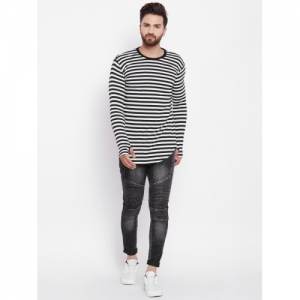 Fugazee Striped Men Round Neck White T-Shirt