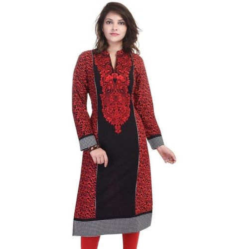 FabTag - The Style Story Women Embroidered Straight Kurta(Red)