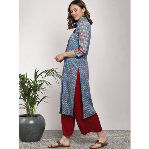 Sangria Women Blue & Red Printed A-Line Kurta