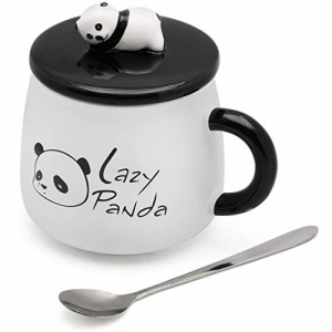Satyam Kraft White Ceramic Panda Mug with Ceramic Lid and Spoon for Diwali Gift,Christmas Gift,gift-300 ML ( Pack Of 1)