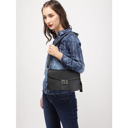 Allen Solly Black Solid Sling Bag