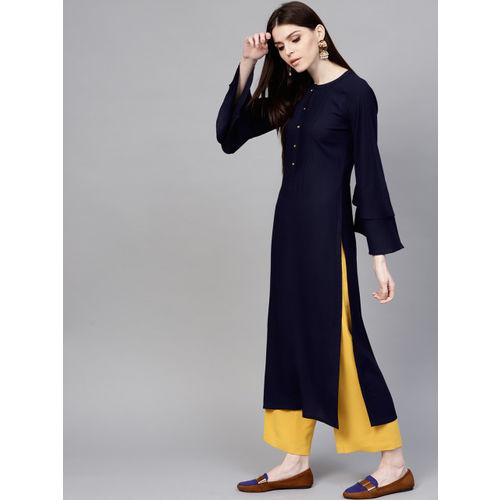 Libas Women Navy Blue Solid Straight Kurta