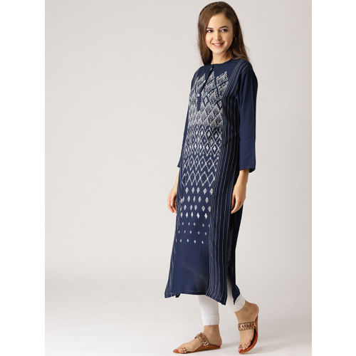 IMARA Women Navy & White Printed Straight Kurta
