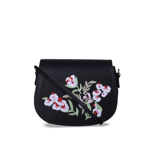 Elle Black Embroidered Sling Bag