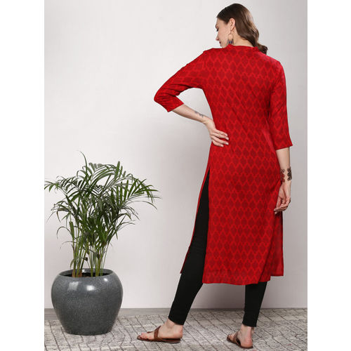Sangria Women Red Printed Straight Kurta