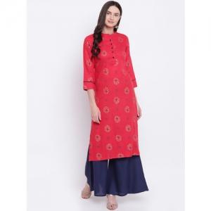 Be Indi Women Red Printed Straight Kurta