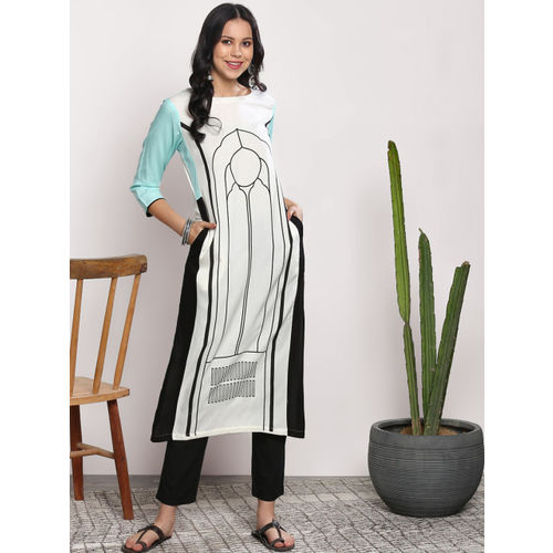 Sangria Women White Printed Straight Kurta
