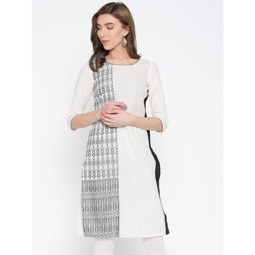 AURELIA Women White & Black Woven Design Straight Kurta
