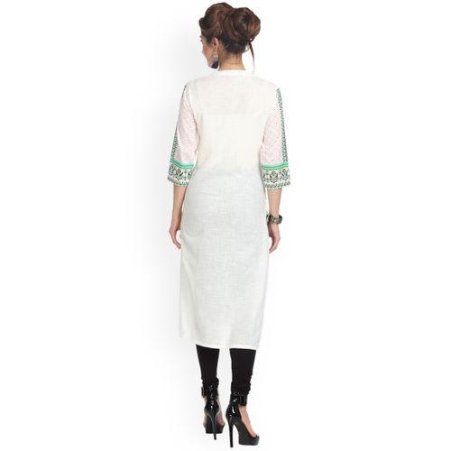 Alena Women White & Green Printed Straight Kurta