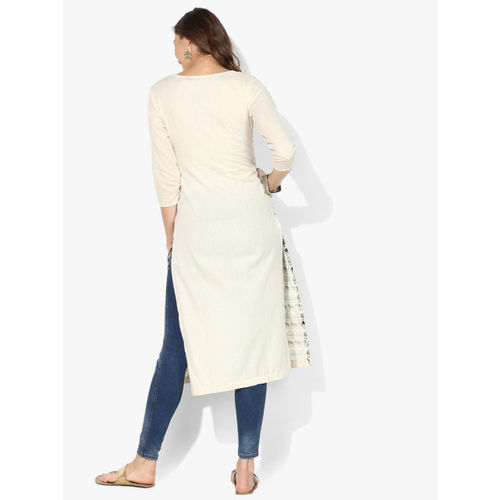 Sangria Women White & Blue Printed Straight Kurta