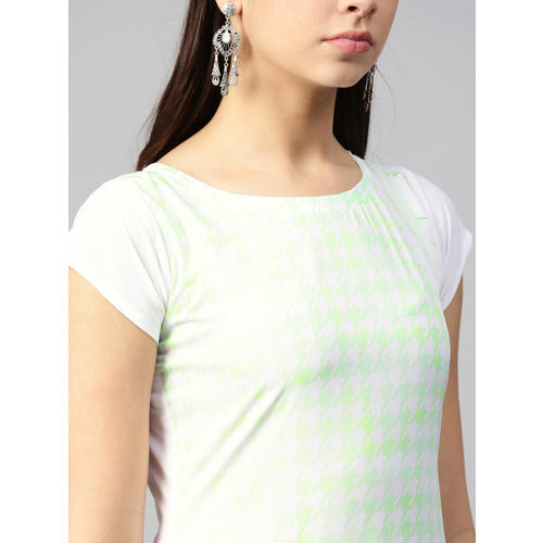 Trend Factory Women White & Green Checked Straight Kurta