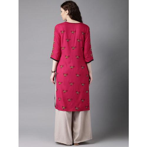 Moda Rapido Women Pink Handblock Bird Print Straight Kurta