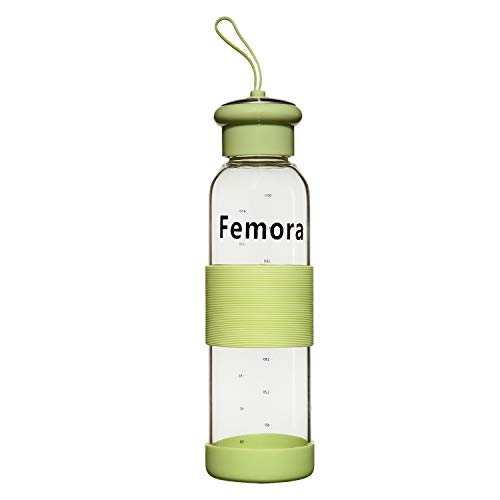 Femora Borosilicate Pure Plus Water Bottle with Protective Silicone for Yoga, Gym, Office, School & Home - 500 ml (Green)