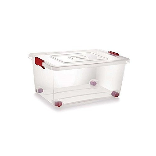 Siva Naturals Transparent Plastic Storage Box with Lack and Wheel, 20 L