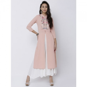 Vishudh Peach-Coloured Embroidered Straight Kurta