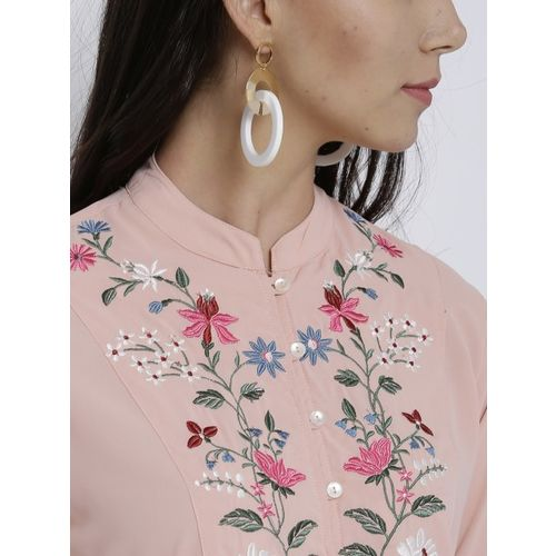 Vishudh Peach-Coloured Embroidered Straight Kurta