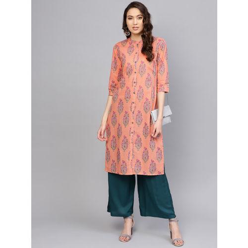 Varanga Women Peach-Coloured Printed Straight Kurta