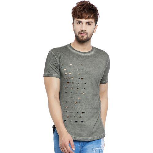Fugazee Self Design Men Round Neck Green T-Shirt