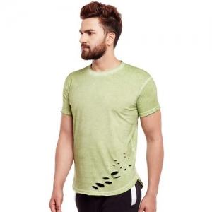 Fugazee Solid Men Round Neck Green T-Shirt