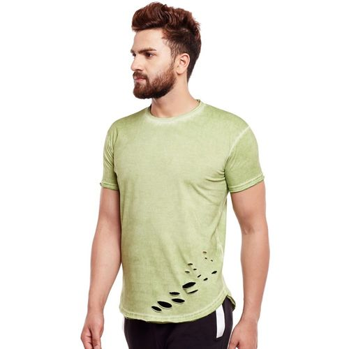 Fugazee Solid Men Round Neck Green T-Shirt