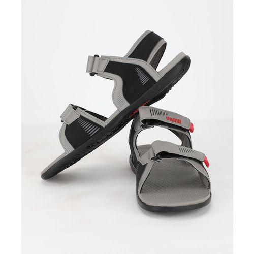 Puma Men Charcoal gray-High risk red- black Sports Sandals