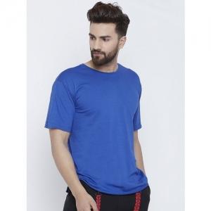 Fugazee Solid Men Scoop Neck Blue T-Shirt