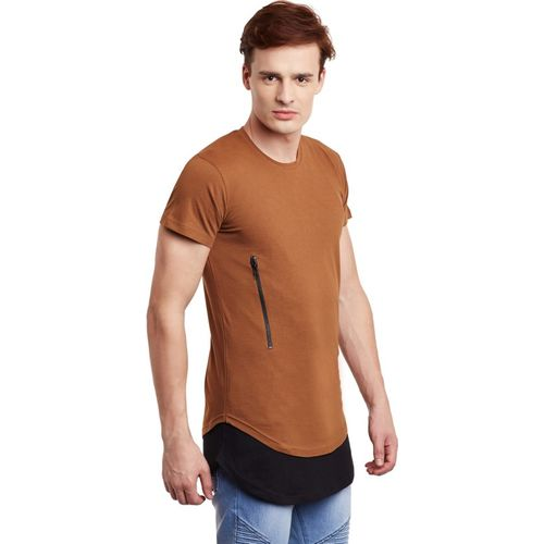 Fugazee Color block Men Round or Crew Brown T-Shirt
