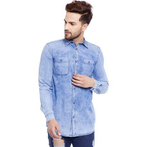 FUGAZEE Blue Cotton Denim Solid Casual Shirts