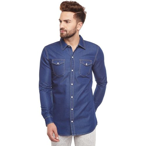 Fugazee Men Solid Casual Blue Shirt
