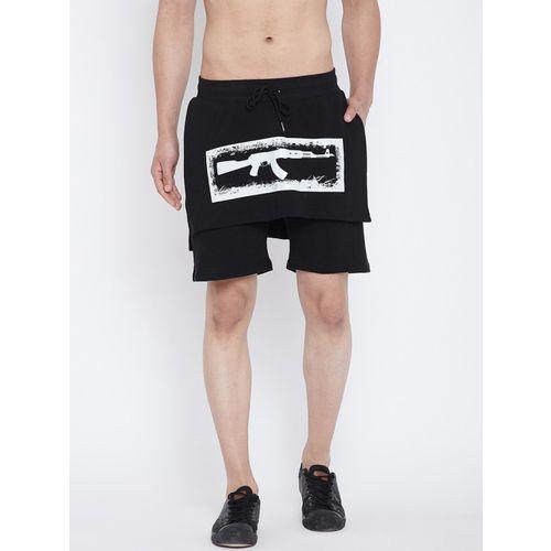Fugazee Self Design Men Black Regular Shorts